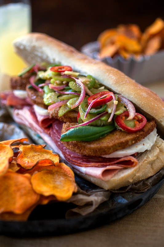 eggplant, basil, giardiniera, sweet potato, fries, chips, sandwich, onions, salami, cold cuts, food, food style, chef