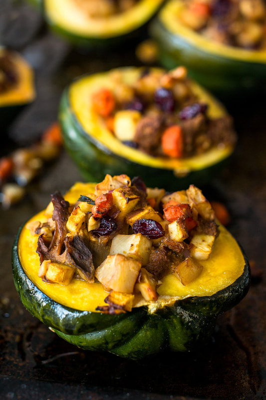 vegetables, acorn squash, mushroom, dried fruits, holiday, roasted, food, food style, chef