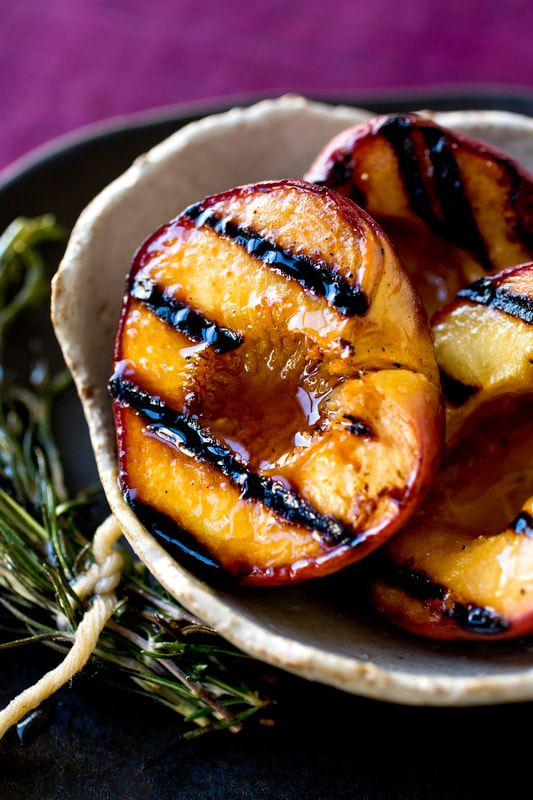 grill, peach, peaches, grilled, rosemary, honey, sweet, dessert, food, food style, chef