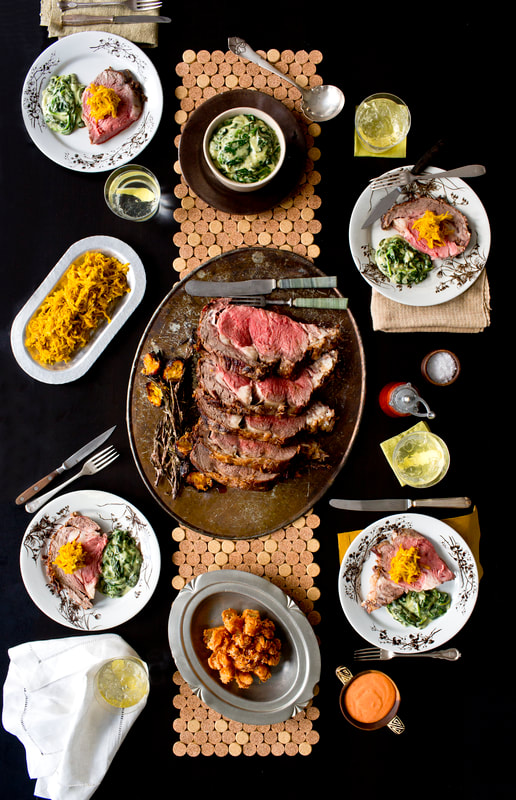 prime rib, steak, creamed spinach, sweet potato, wine, horseradish, food, food style, chef