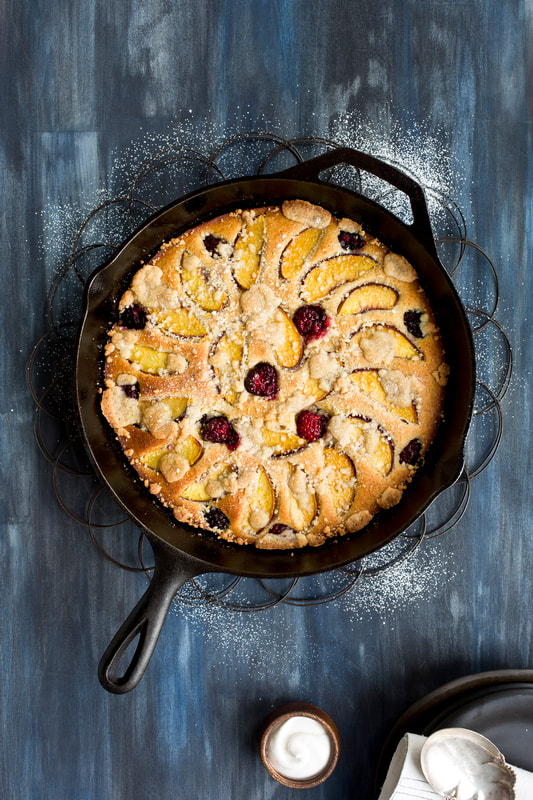 peach, cherries, bake, baking, cake, pastry, sweet, whipped cream, sugar, food, food style, chef