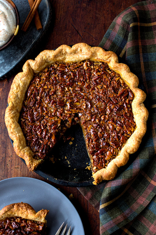 pecan pie, crust, dough, whipped cream, cinnamon, baking, pastry, holiday, food, food stylist, chef