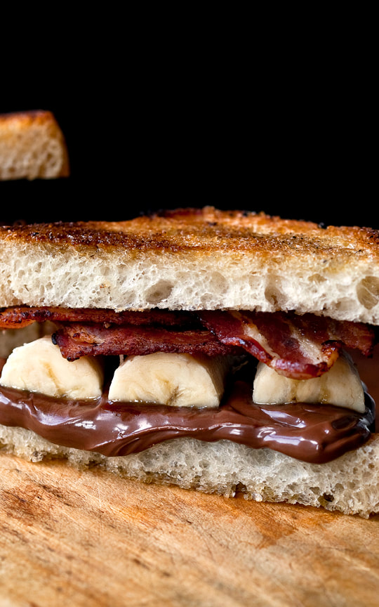banana, bacon, nutella, bread, sandwich, food, food style, chef