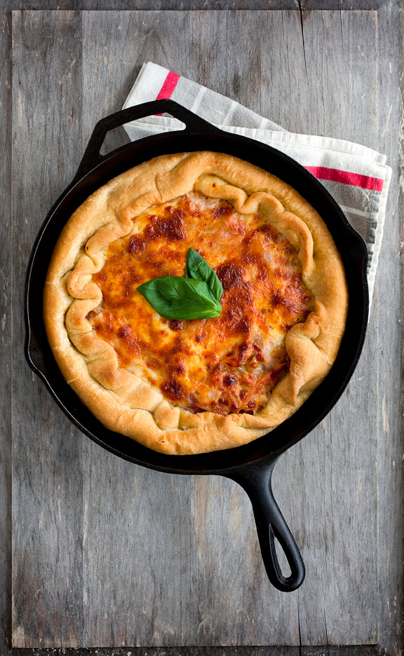 deep dish, pizza, sauce, basil, cheese, dough, food, food style, chef
