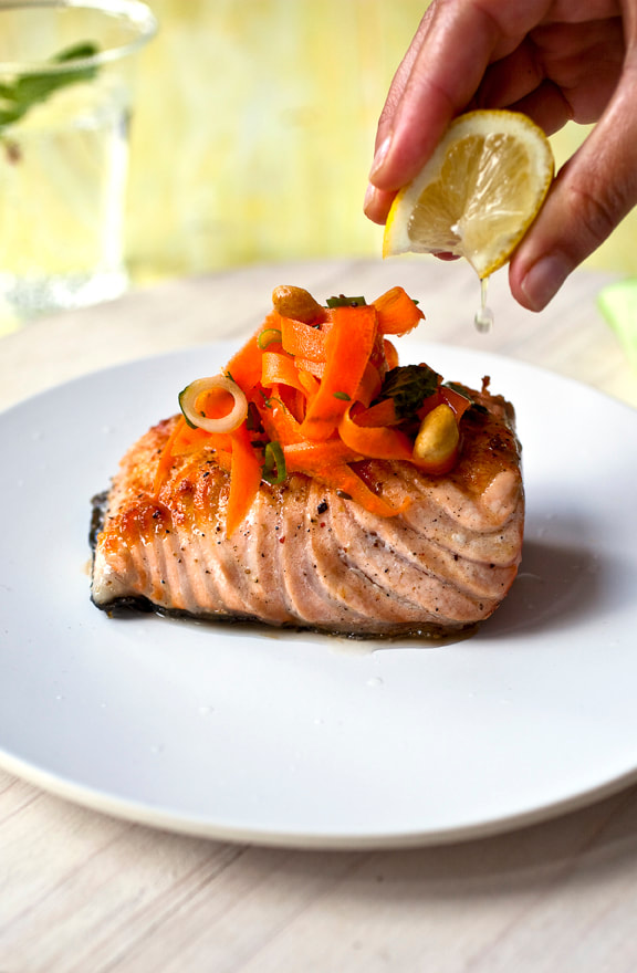 salmon, fish, carrots, lemon, nuts, scallions, food, food style, chef